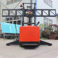 Pallet stacker (standing driving) - red (stainless steel fork wide leg)