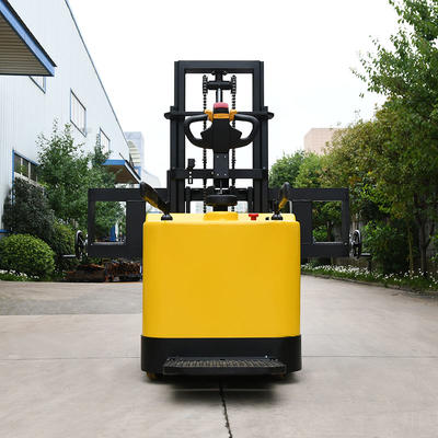 Pallet stacker (station driving) - yellow (fork with groove and adjustable fork)